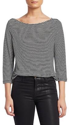 Frame Weekender Striped Linen T-Shirt