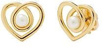 Kate Spade Infinite Hearts Gold-Tone Imitation Pearl Heart Stud Earrings