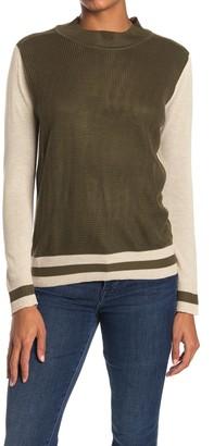 Poof Colorblock Stripe Mock Neck Sweater