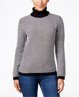 Karen Scott Petite Patterned Turtleneck Sweater, Only at Macy's