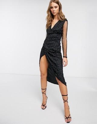 Forever U diamante wrap midi dress in black