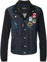 DSQUARED2 denim and leather patch jacket - men - Cotton/Leather/Polyester/Spandex/Elastane - 44