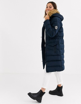 Brave Soul whitehorse padded long jacket with faux fur trim hood-Navy