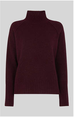 Whistles Sparkle Funnel Neck Wool Knit