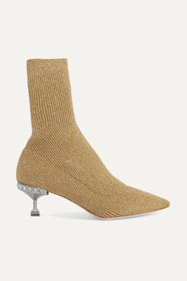 Miu Miu Crystal-embellished Metallic Ribbed-knit Sock Boots - Gold