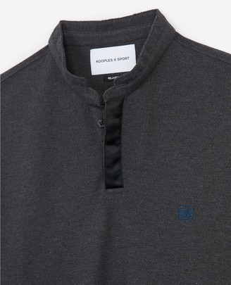 The Kooples Grey cotton insignia polo with side splits