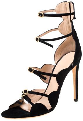 Giambattista Valli Black Suede Open Toe Strappy Cage Sandals Size 40