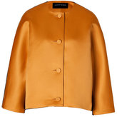 Jonathan Saunders Satin/Wool Felt Jacket in Golden Brown/Black