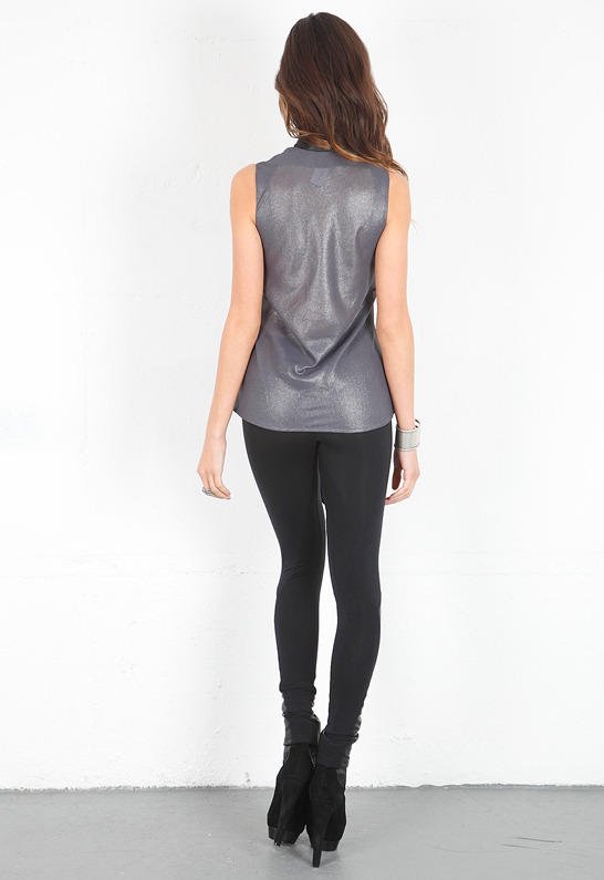 Singer22 SW3 Bespoke Bedford Shimmer Sleeveless Blouse with Faux Leather Tie in Black