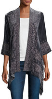 Johnny Was 3/4-Sleeve Velvet Draped Cardigan, Petite