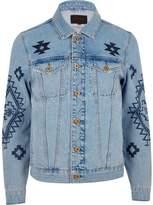 River Island Mens Blue aztec print denim jacket