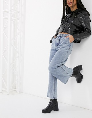 Only cropped wide leg jeans in blue