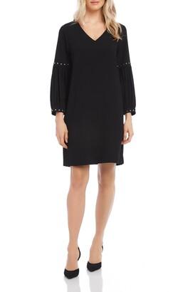Karen Kane Long Sleeve Studded V-Neck Crepe Dress
