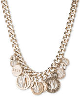 DKNY Gold-Tone Multi-Charm Logo Pendant Necklace, Created for Macy's
