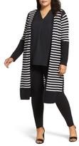 Vince Camuto Plus Size Women's Stripe Cotton Blend Maxi Cardigan