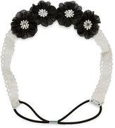 Carole Black and White Lace Flower Headband