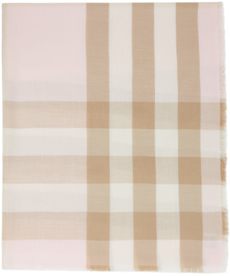 Burberry Pink and Brown Lightweight Cashmere Check Scarf