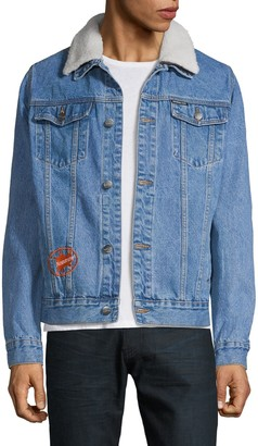 Members Only Faux Shearling-Collar Denim Jacket