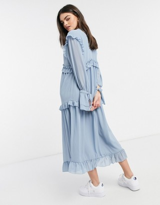 Pretty Lavish ruffle smock dress with ruffle detail in slate blue