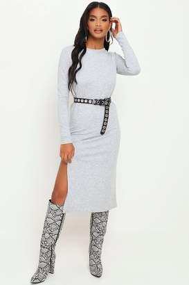 I SAW IT FIRST Grey Long Sleeve Midi Sweater Dress