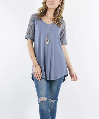 Lydiane Women's Tunics CEMENT - Cement V-Neck Lace-Sleeve Curved-Hem Tunic - Women & Plus