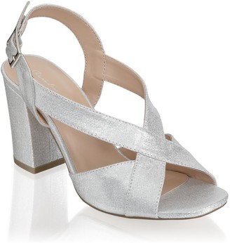 Paradox London Hibiscus Silver Wide Fit Block Heel Ankle Strap Sandals