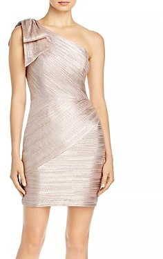 Aqua One Shoulder Metallic Sheath Dress - 100% Exclusive