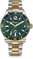 Salvatore Ferragamo 1898 Sport Gold IP and Stainless Steel Men's Bracelet Watch w/Green Aluminum Rotating Bezel