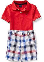 Nautica Little Boys 2T-7 Solid Polo Shirt & Plaid Shorts Set