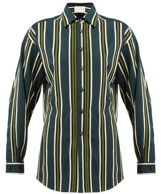 Marios Schwab On The Island By Ransvik Striped Shirt - Womens - Green Stripe
