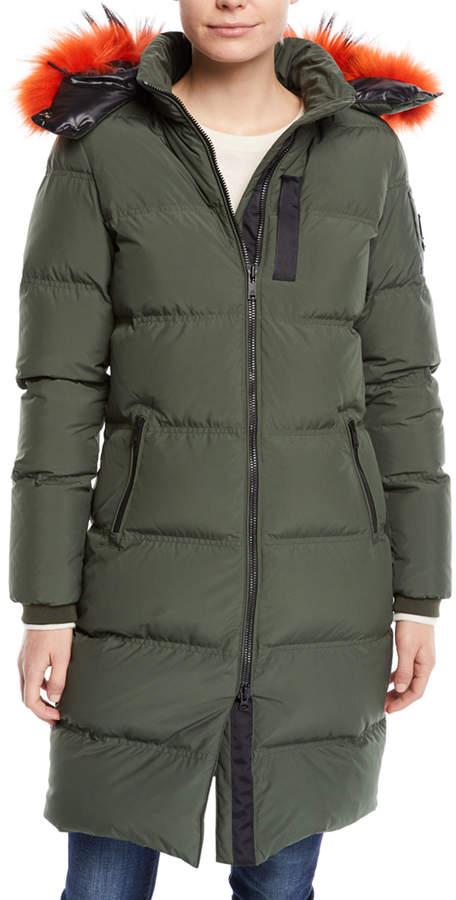 Moose Knuckles Donnacona Long Parka Coat w/ Fur Trim & Hood