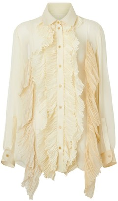 Burberry Crepon Ruffle Shirt