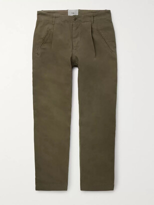 Folk Navy Assembly Tapered Pleated Cotton-Canvas Trousers - Men - Green