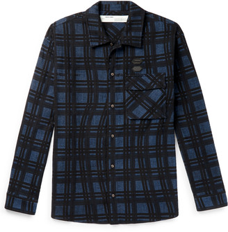 Off-White Logo-Appliqued Checked Cotton-Flannel Shirt