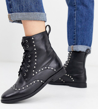Simply Be Extra Wide Fit Simply Be extra wide fit tanya leather studded biker boots-Black