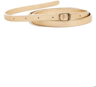 Dries Van Noten Metallic Leather Skinny Belt