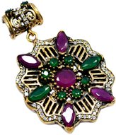 Saamarth Impex Emerald, Ruby & Topaz (Lab) 925 Sterling Silver With Bronze Pendant PG-104569