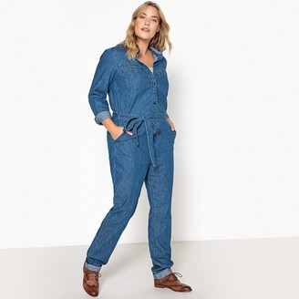Castaluna Plus Size Denim Tie-Waist Boilersuit