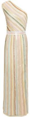 Missoni One-shoulder Sequin-embellished Metallic Crochet-knit Maxi Dress