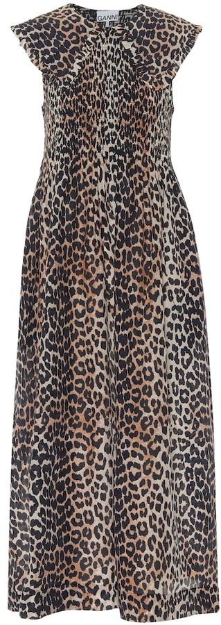 Ganni Leopard-print cotton and silk midi dress