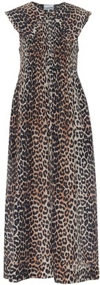 Ganni Leopard-print cotton and silk midi dress