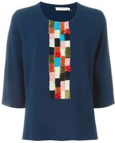 Tory Burch woven detail knit top - women - Polyester/Viscose - XS