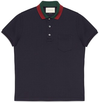 Gucci Cotton polo with Web collar