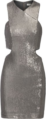 Halston Cutout Sequined Mesh Mini Dress