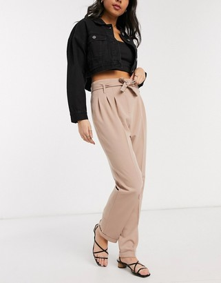 Miss Selfridge belted tapered leg trousers in mink