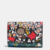 Coach Medium Double Flap Wallet In Mixed Yankee Floral Print Canvas
