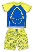 Baby Buns Size 24M 2- Piece Happy Shark Rashguard Set in Yellow/Blue
