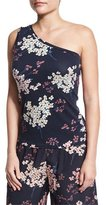Rebecca Taylor Phlox Floral-Print Jersey One-Shoulder Tank, Navy