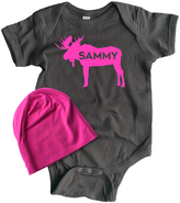 Charcoal & Hot Pink Moose Personalized Bodysuit & Beanie - Infant