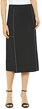 Misook Contrast-Stitched Skirt